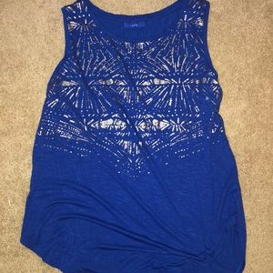 Blue tank with silver detail